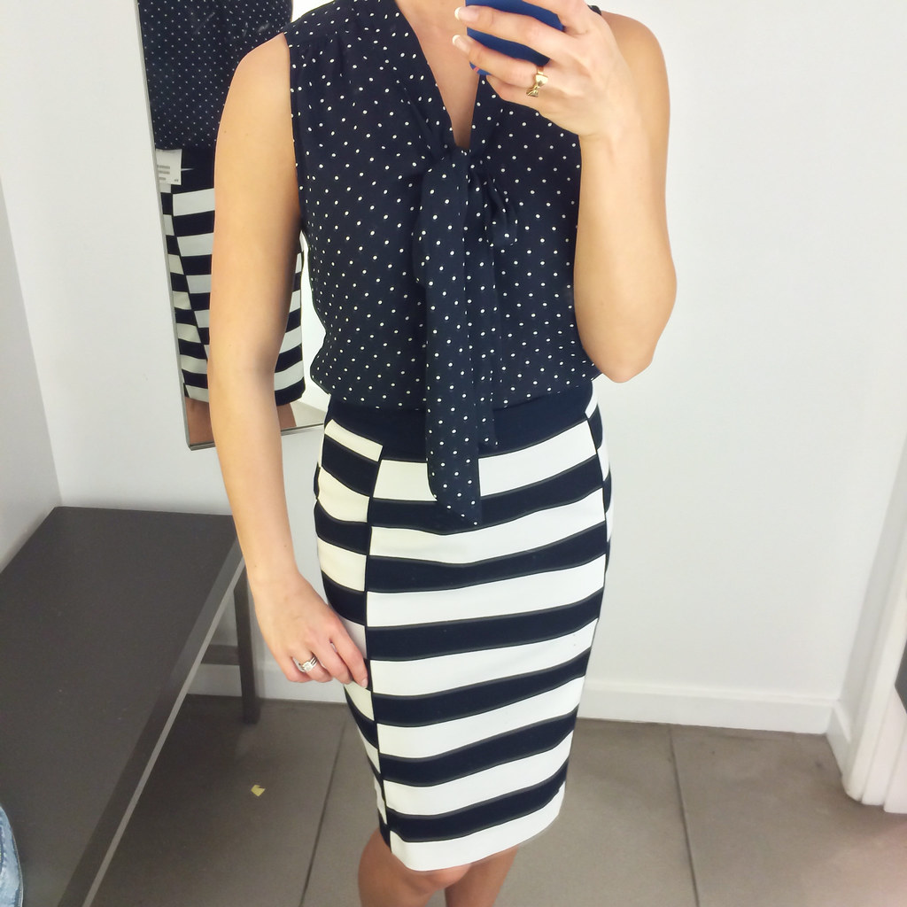 H M Navy Polka Dot And Striped Skirt Tie Neck Blouse Flickr