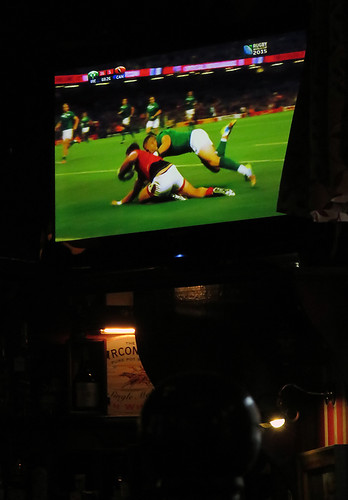 In Belfast's Bittles Bar there was a game, Canada vs Ireland (Canada lost)
