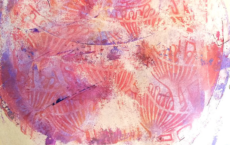 gelli plate printing session