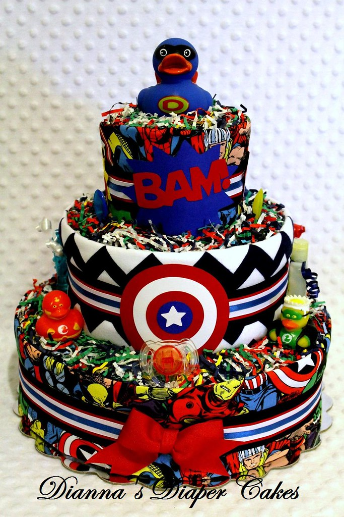 Superhero Baby Diaper Cake Embellished By Dianna S Cakes