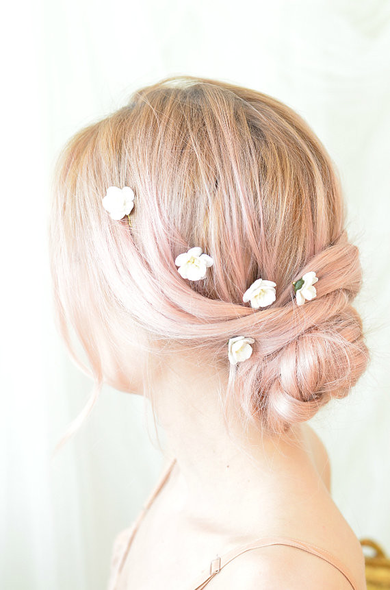 White flower clips wedding hair pins small floral bobby flickr white flower clips wedding hair pins small floral bobby pins bridal accessories mightylinksfo