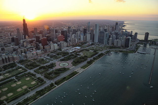 Chicago Helicopter Tour sunset