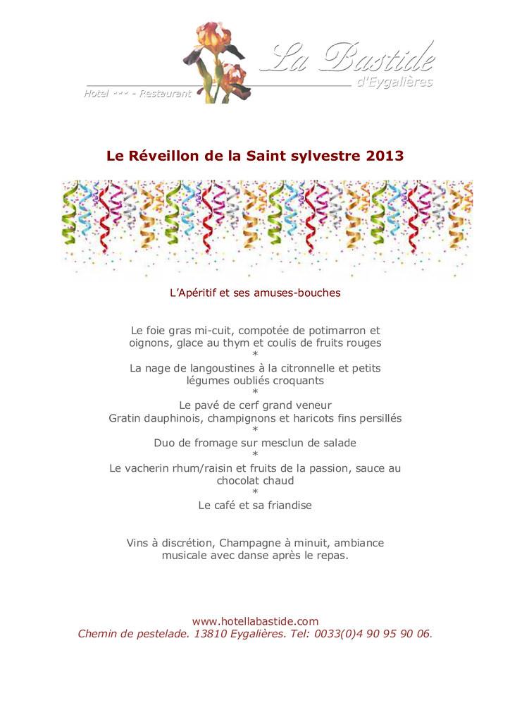 Menu Reveillon De Noel.Menus Noel Reveillon Saint Remy De Provence Restaurant B