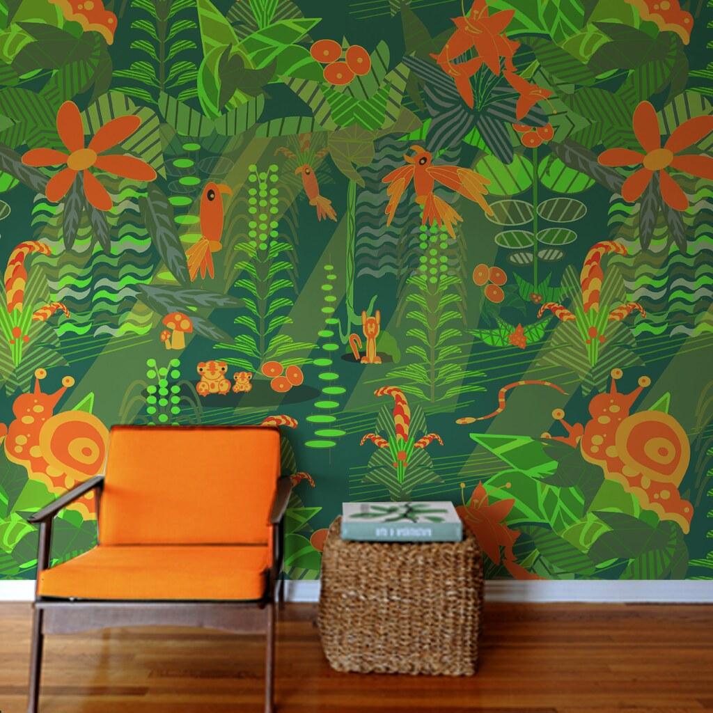 Cartoon Modern Mid Century Jungle Wallpaper