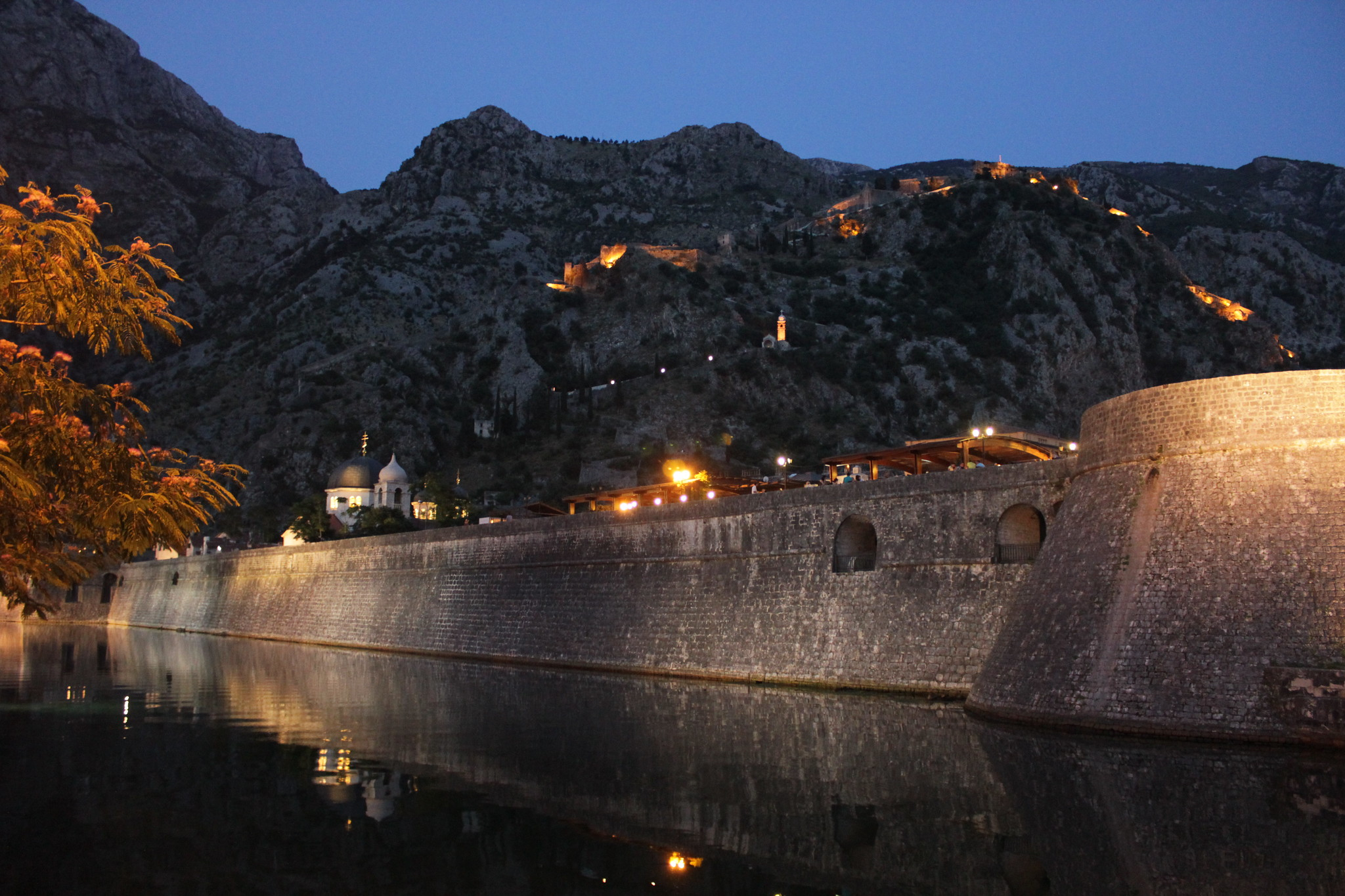The Town Walls in the night-time