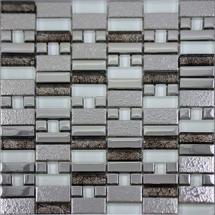 Glass tiles #design for bathroom and #kitchen silver mosai… | Flickr