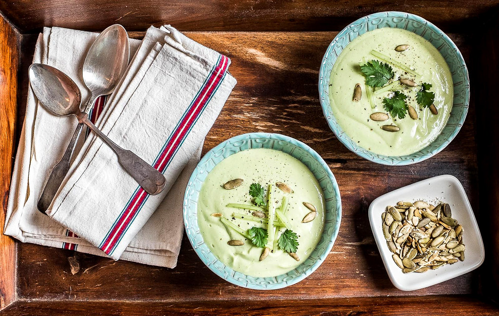 Chilled Avocado-Cucumber Soup with Buttermilk