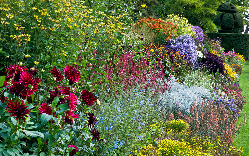 Traditional Flower Borders At Nymans Garden Sussex UK