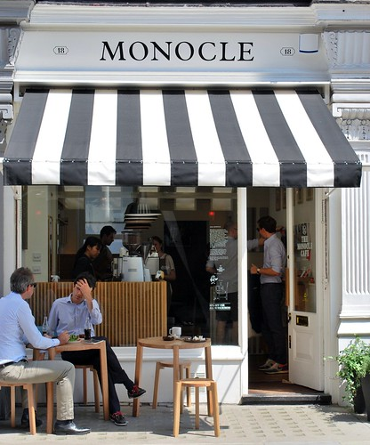 Monocle caf london camila rom n demo flickr for Small shop exterior design