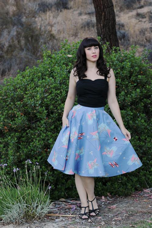 Trashy Diva Circle Skirt in Lilac Atomic Print Trixie Top in Black
