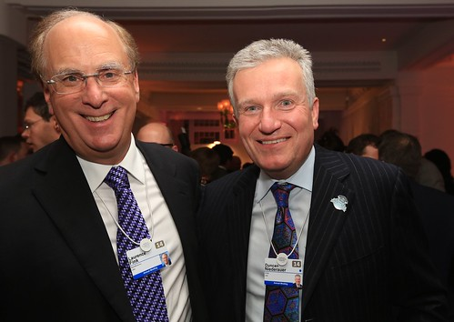 Larry Fink, CEO, BlackRock and Duncan Niederauer, CEO, NYSE at the FT CNBC Nightcap, Davos | by Financial Times photos