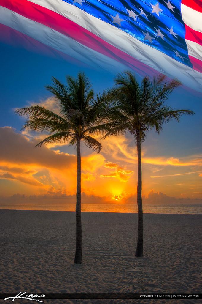 Fourth Of July Sunrise Florida Beach And Flag Beautiful Su Flickr