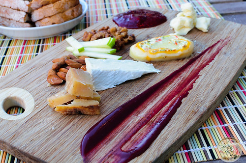Cheese Board with Nuts and Jam