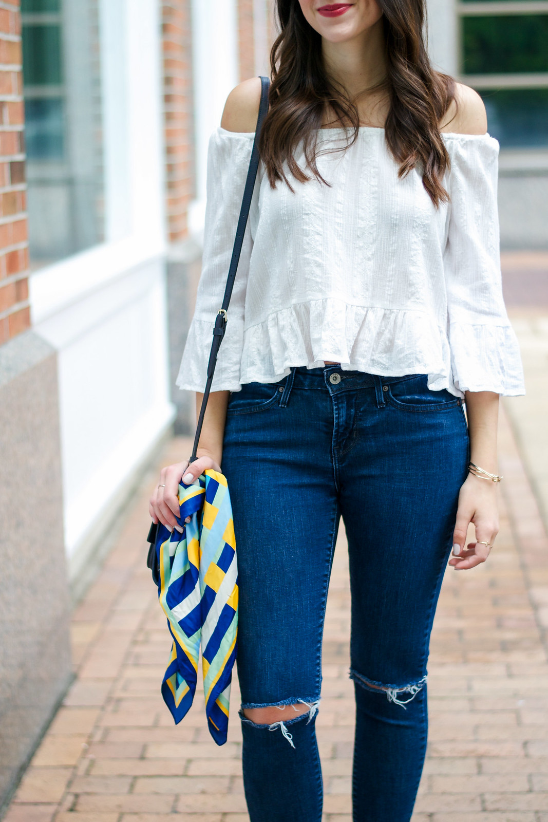 Zara Scarf and White Off The Shoulder Top