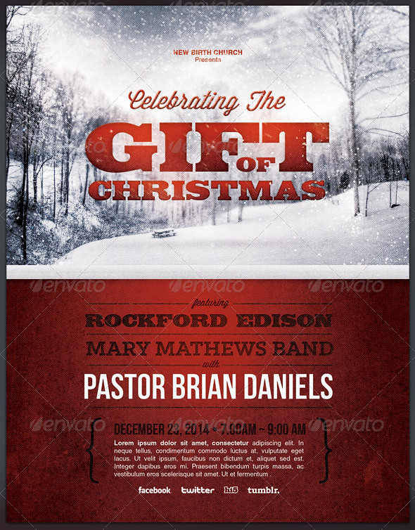 Celebrating The Gift Of Christmas Church Flyer Template Flickr
