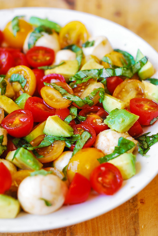 Tomato Basil Avocado Mozzarella Salad With Balsamic Dressing Julia S Album