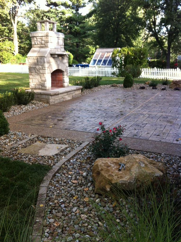 ... Custom Stamped Concrete Patio With Exposed Aggregate Border +  Landscaping U0026 Custom Stone Fireplace   Ballwin