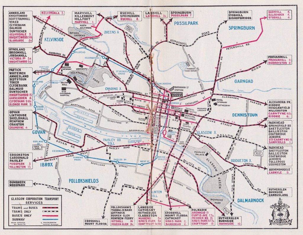 Map Of Glasgow Corporation Transport Services C1934 By Mikeyashworth
