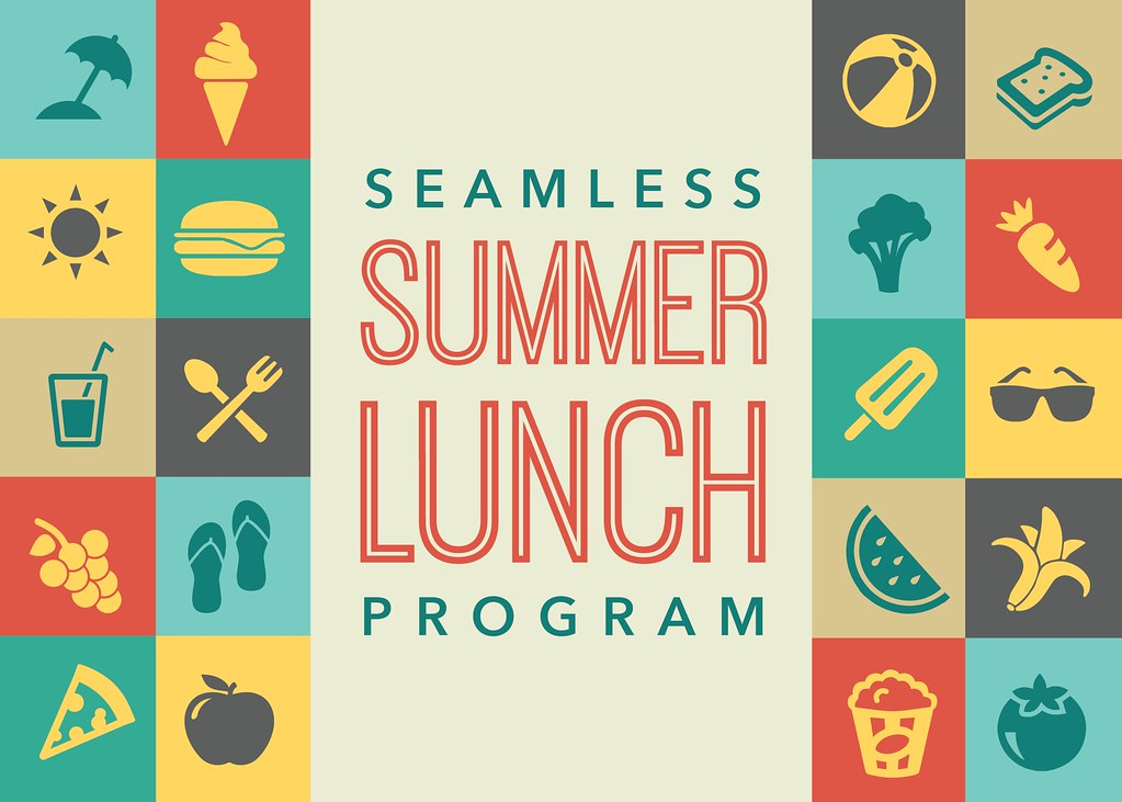 Food and summer icons with text 'Seamless Summer Lunch Program'