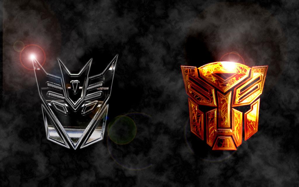 transformers autobots vs decepticons logo wallpaper flickr