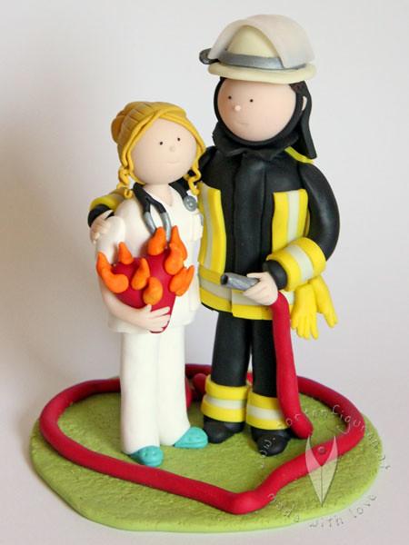Feuerwehr Krankenschwester Brautpaar Hochzeitstortenfigur Flickr