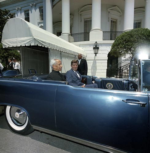 President John F. Kennedy and President Dr. Sarvepalli Radhakrishnan of India in Car before Motorcade | by The U.S. National Archives