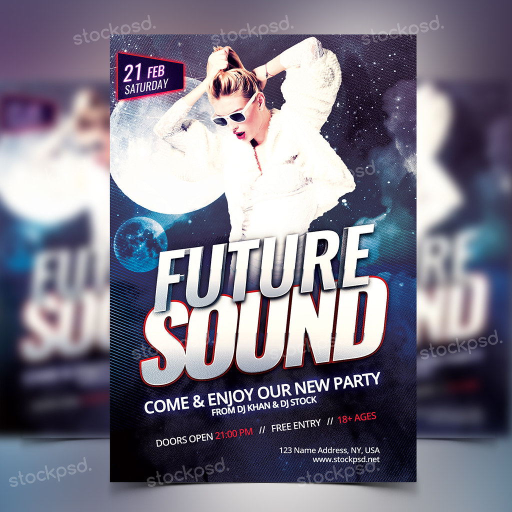 Future Sound Party Free Psd Flyer Template Download For Flickr