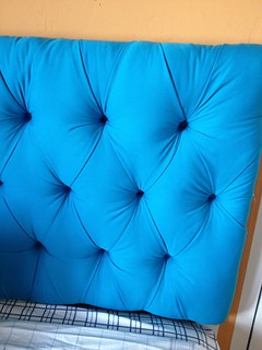 Bright blue DIY tufted headboard | by meguerite