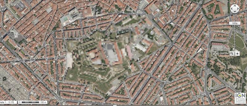 floutage geoportail, bing, google maps : Perpignan, Palais des rois de Majorque et caserne CPIS
