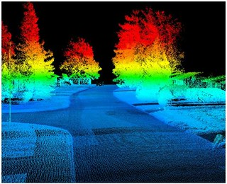 A 3D point cloud created from a laser scanner with a ground-based point-of-view. Image by Jason Parent.