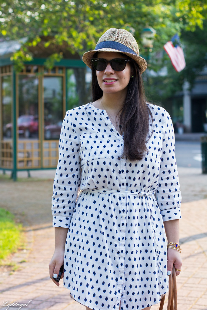 polka dot dress, straw fedora, blue sandals-4.jpg