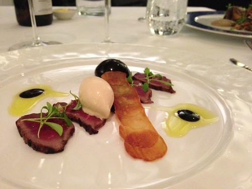 7th course: carpaccio of deer with fig lolly, potato maxime, chocolate ...