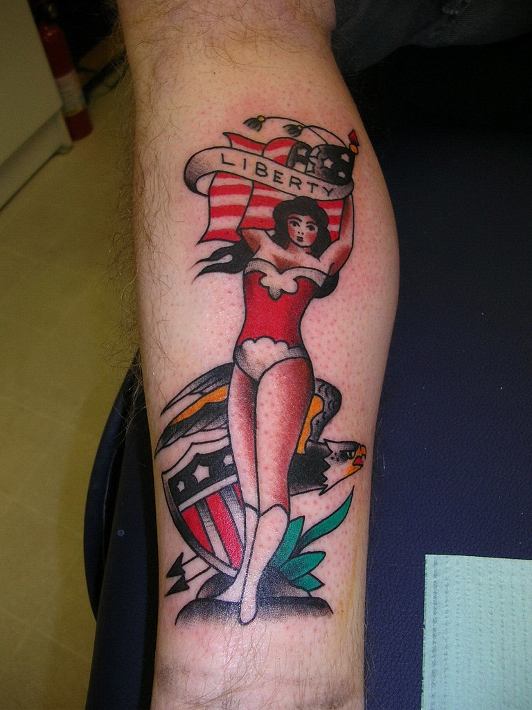 Traditional Pinup Eagle Flag Shield Tattoo By Krooked Ken Flickr