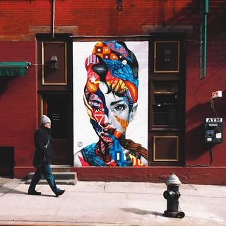 Audrey hepburn mural little italy nyc street art by for Audrey hepburn mural
