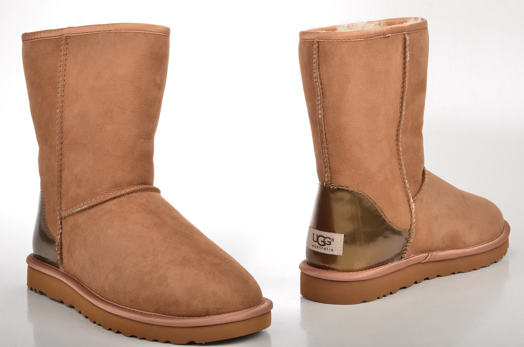 ... Ugg Australia Classic Short Metallic Patent Boot Lammfell gefüttert Veloursleder braun (chestnut) (2