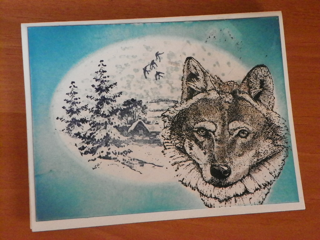 Wolf Christmas Cards | Hand Stamped by Adirondack Greetings ...
