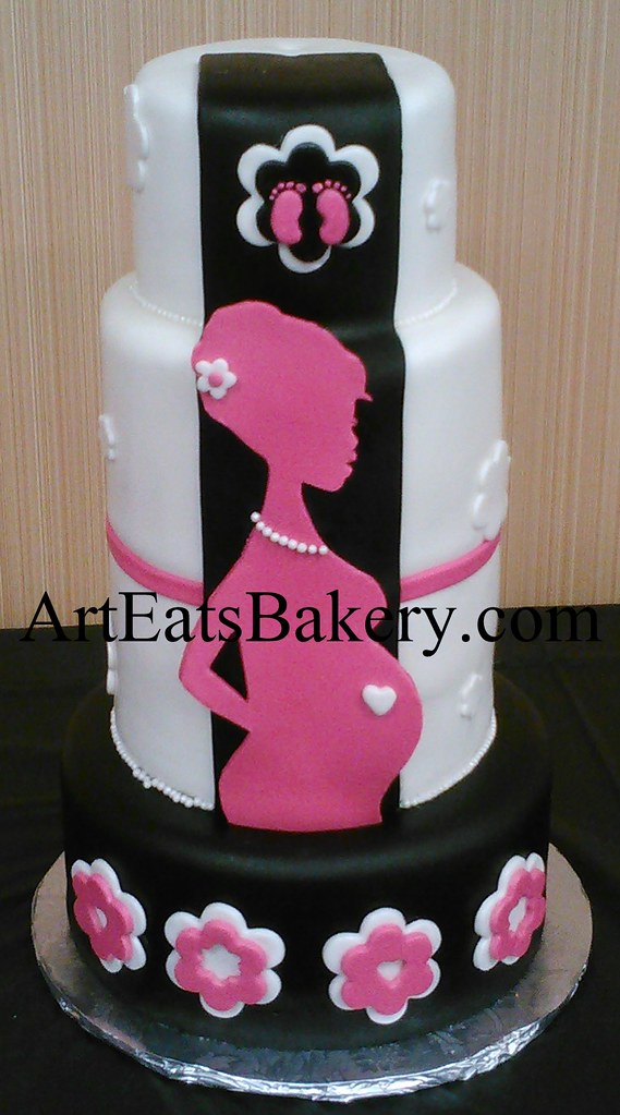 Pink Black And White Chic Baby Shower Cake With Flowers Flickr