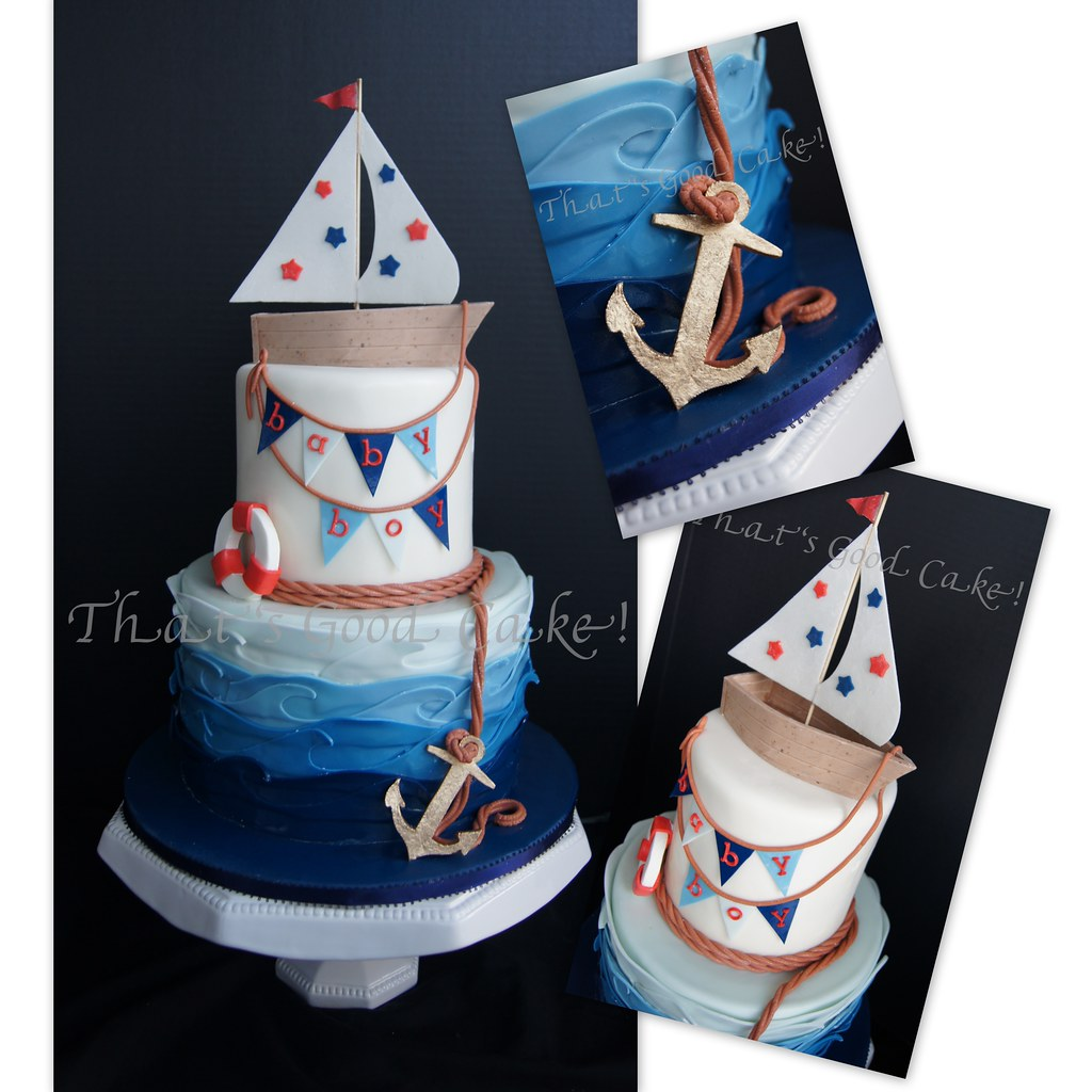 Nautical Baby Shower Cake | By Thats Good Cake!