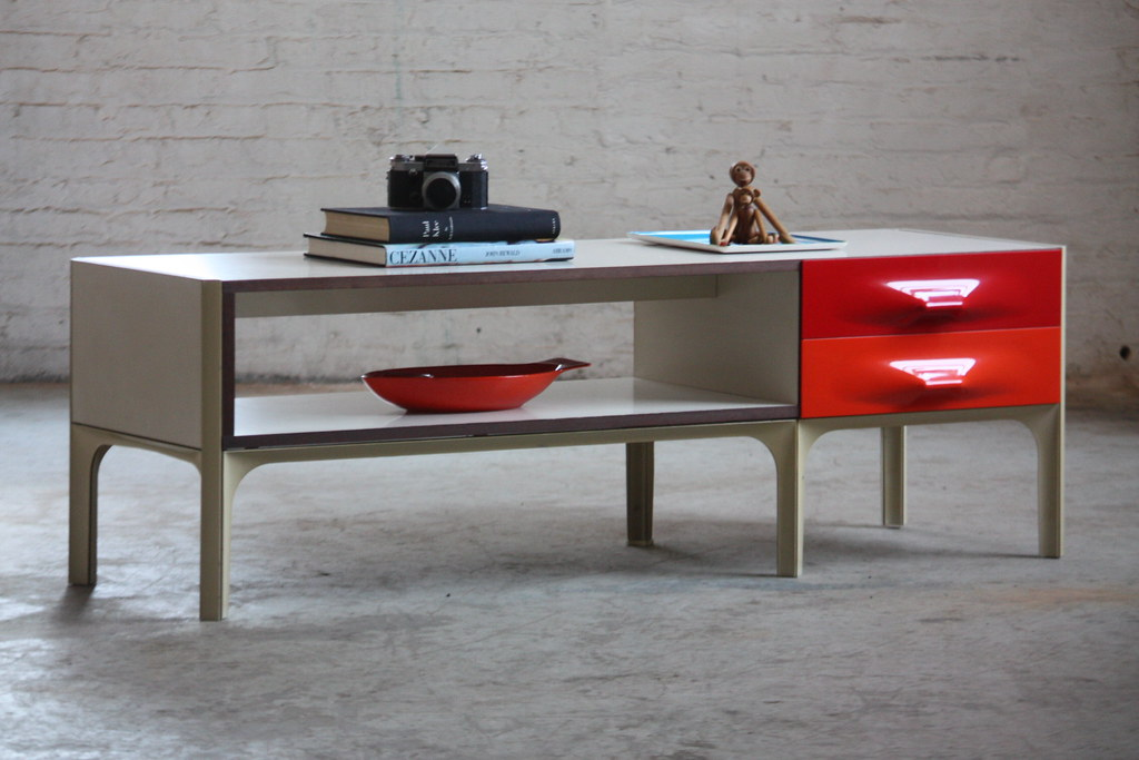 ... Vibrant Raymond Loewy Mid Century Low Two Sided DF 2000 Cabinet Coffee  Table For Doubinsky