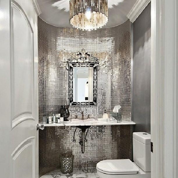Bathroom Vanity Silver Shines Bling Mirror