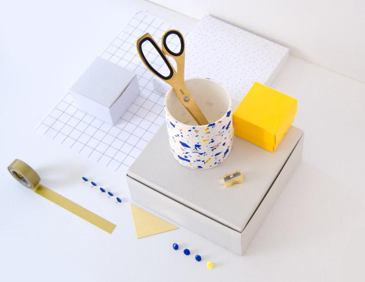 DIY terrazzo fimo pencil holder · DIY portalápices de terrazo hecho con fimo · Fábrica de Imaginación