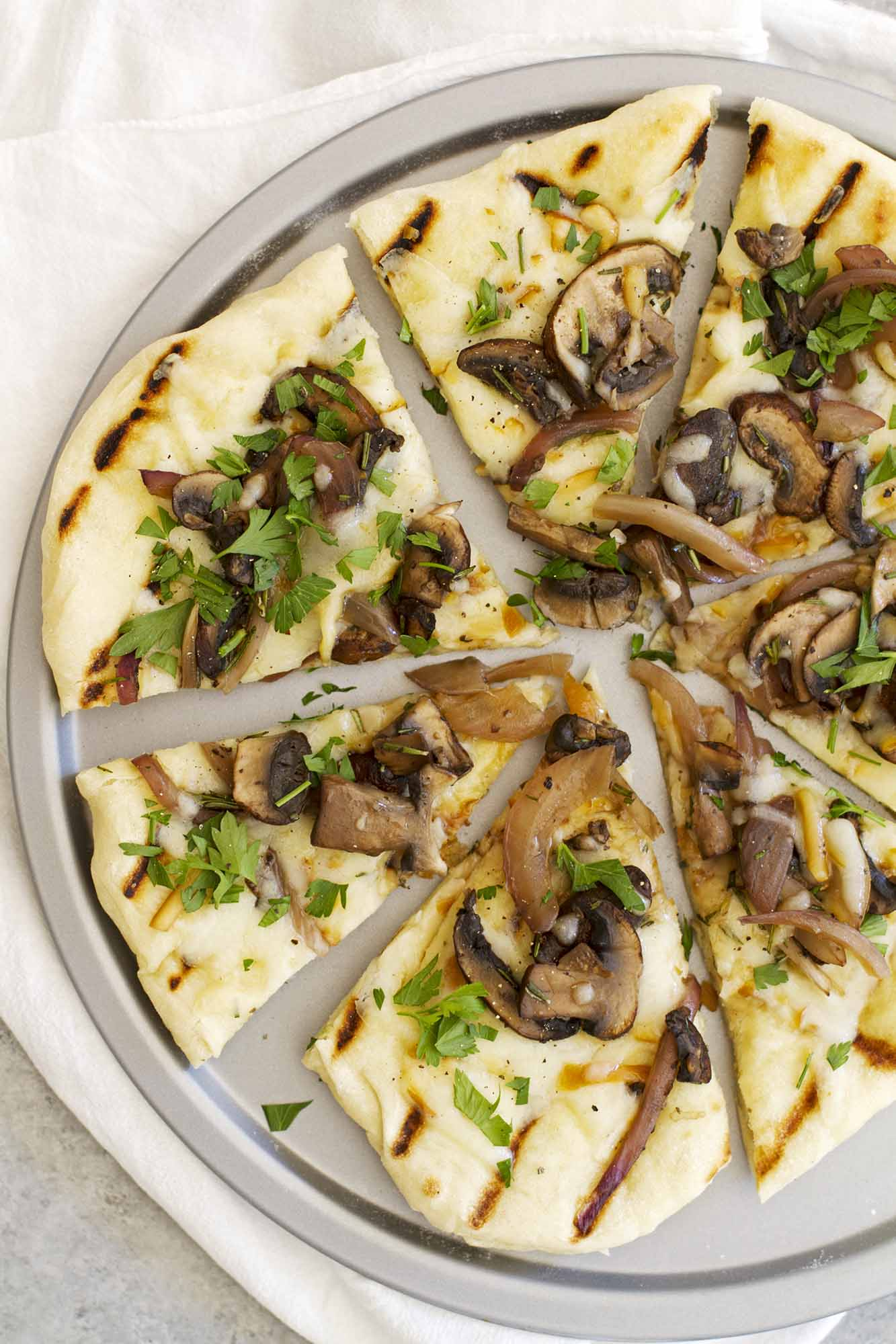 Grilled Mushroom Pizza with Rosemary and Smoked Mozzarella | girlversusdough.com @girlversusdough