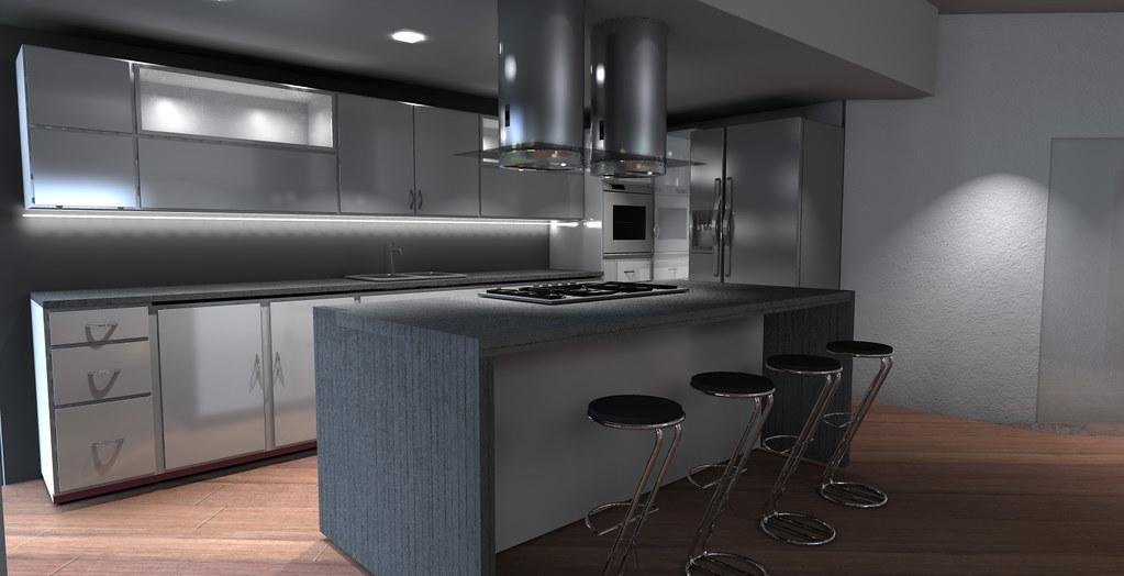 Villetta in trentino cucina isola con sgabelli architettiamo
