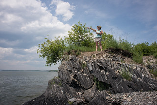 Beth Pointing at Lake Champlain | by goingslowly