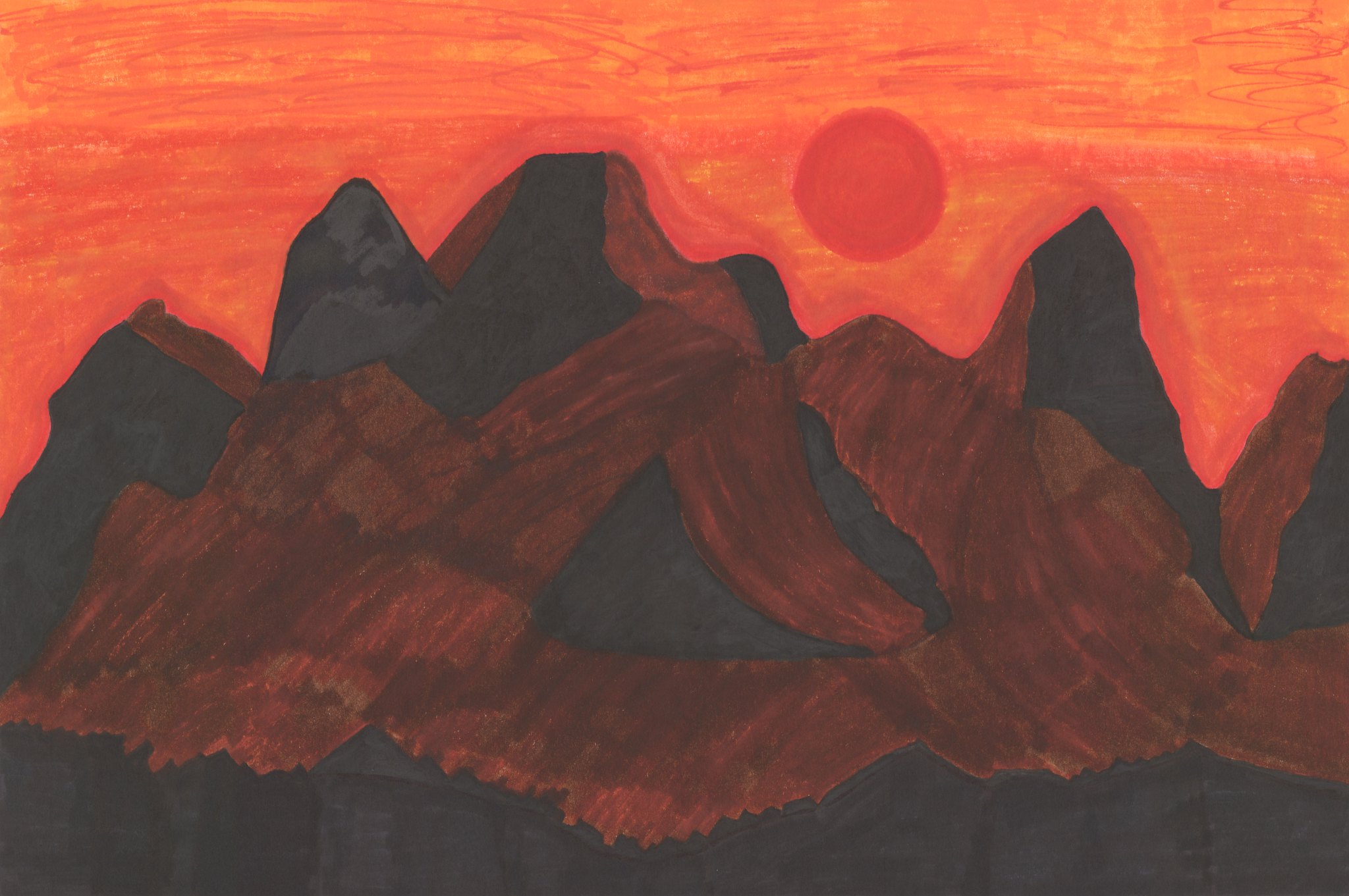 Sunset Over The Cascades 1  By Sherrie D. Larch