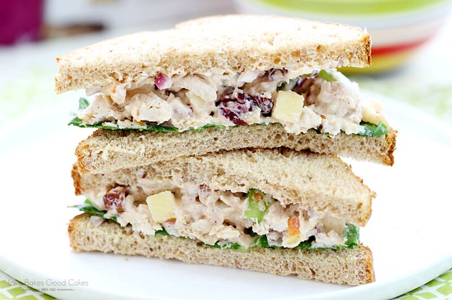 Lighter Chicken Salad Sandwiches on a white plate close up.