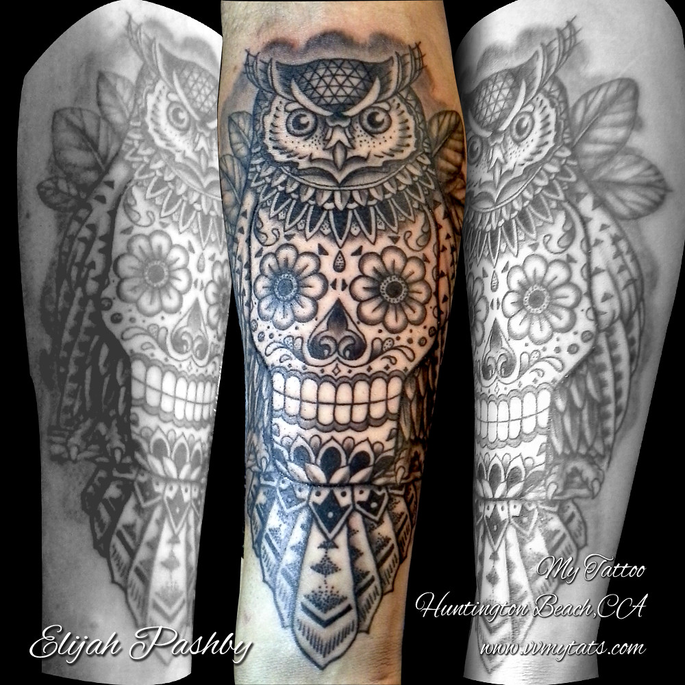 Blackwork Owl Owl With Skull Tattoo By Elijah Pashby My Ta Flickr