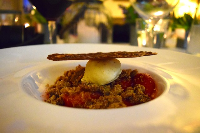 Strawberry Crisp with a Carambar Tuille at Manoir de Malagorse | www.rachelphipps.com @rachelphipps