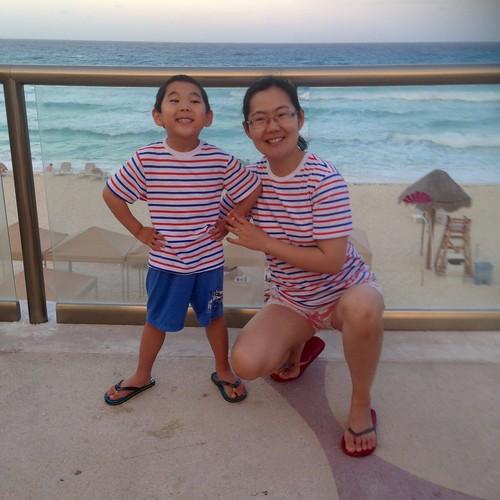 Matching shirts on vacation