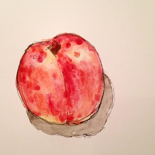 When life gives you peaches or you blow $12 on a bucket of them, make a pie and bust out the watercolors.